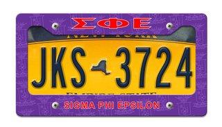 Sigma Phi Epsilon License Plate Frame
