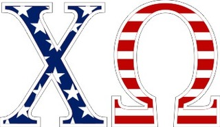 "Chi Omega American Flag Greek Letter Sticker - 2.5"" Tall"