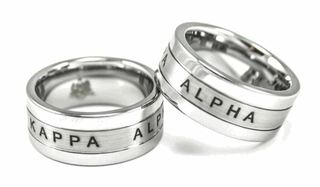 Kappa Alpha Tungsten Ring with 1865 and Fraternity Crest - Shield