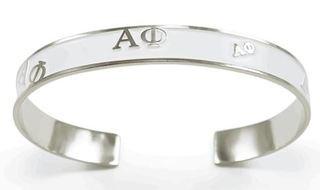 Alpha Phi Bangle Bracelet (White)