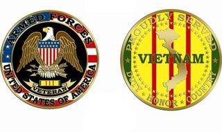 Proudly Served Vietnam War Veteran Challenge Coin