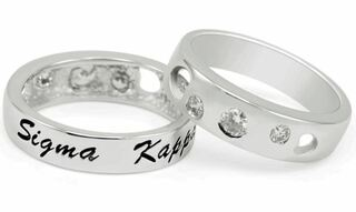 Sigma Kappa Sterling Silver Ring with Hearts and Cubic Zirconias