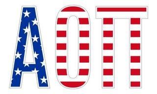 "Alpha Omicron Pi American Flag Greek Letter Sticker - 2.5"" Tall"