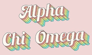 Alpha Chi Omega Sorority Retro Flag