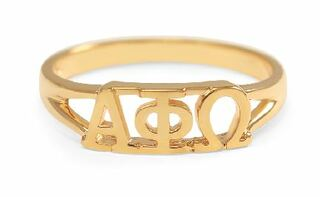 Alpha Phi Omega Gold Plated Letter Ring