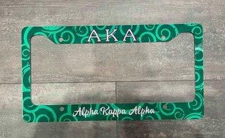 The New Super Savings - Alpha Kappa Alpha Metal License Plate Frame - GREEN