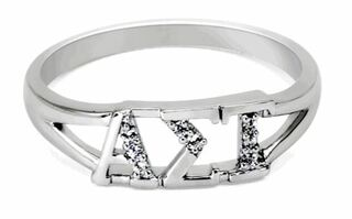 Alpha Sigma Tau Sterling Silver Ring set with Lab-Created Diamonds