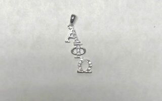 Super Savings - Alpha Phi Omega Sterling Silver Diagonal Lavaliere set with Lab-Created Diamonds - SILVER