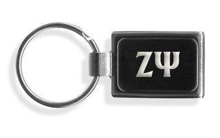 Zeta Psi Engraved Chrome Keychains