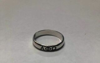 Super Savings - Alpha Phi Omega Sterling Silver Skinny-Band Ring - SILVER