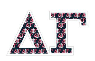 "Delta Gamma Mascot Greek Letter Sticker - 2.5"" Tall"