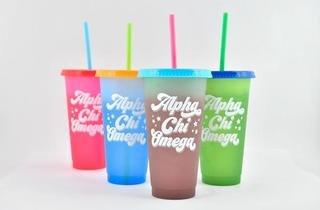 Alpha Chi Omega Color Changing Cups (Set of 4)