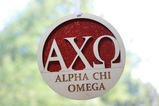 """Alpha Chi Omega Laser Carved Greek Letter Ornament - 3"""" Round"""