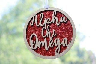 """Alpha Chi Omega Laser Carved Script Ornament - 3"""" Round"""