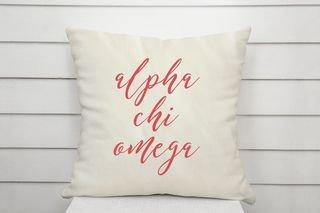 Alpha Chi Omega Script Pillow