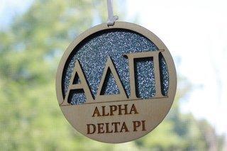 """Alpha Delta Pi Laser Carved Greek Letter Ornament - 3"""" Round"""