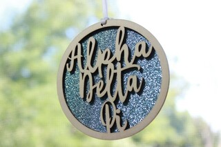 "Alpha Delta Pi Laser Carved Script Ornament - 3"" Round"