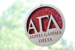 """Alpha Gamma Delta Laser Carved Greek Letter Ornament - 3"""" Round"""