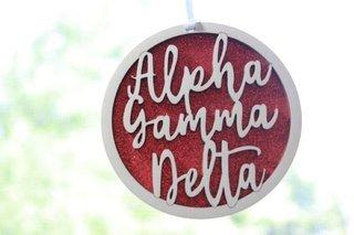 "Alpha Gamma Delta Laser Carved Script Ornament - 3"" Round"