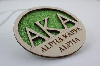 Alpha Kappa Alpha Gliter Ornament