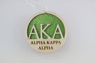 """Alpha Kappa Alpha  Laser Carved Greek Letter Ornament - 3"""" Round"""