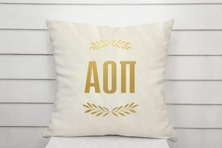 Alpha Omicron Pi Foil Letters Pillow