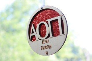 """Alpha Omicron Pi Laser Carved Greek Letter Ornament - 3"""" Round"""