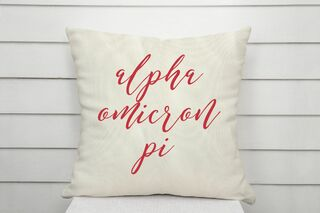 Alpha Omicron Pi Script Pillow