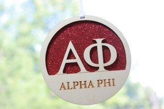 """Alpha Phi Laser Carved Greek Letter Ornament - 3"""" Round"""