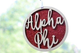 """Alpha Phi Laser Carved Script Ornament - 3"""" Round"""