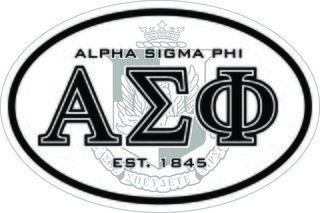 Alpha Sigma Phi Oval Crest - Shield Bumper Sticker - CLOSEOUT