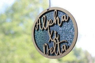 "Alpha Xi Delta Laser Carved Script Ornament - 3"" Round"