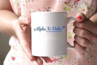 Alpha Xi Delta White Mascot Coffee Mug - Personalized!