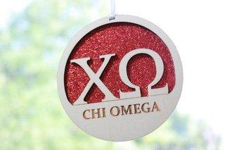 """Chi Omega Laser Carved Greek Letter Ornament - 3"""" Round"""