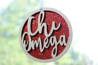 "Chi Omega Laser Carved Script Ornament - 3"" Round"