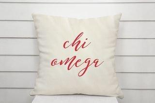 Chi Omega Script Pillow