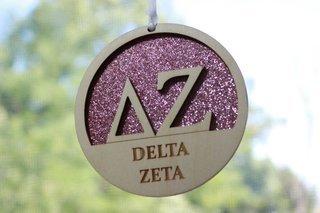 """Delta Zeta Laser Carved Greek Letter Ornament - 3"""" Round"""