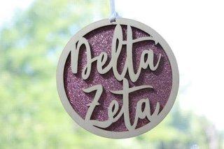 "Delta Zeta Laser Carved Script Ornament - 3"" Round"