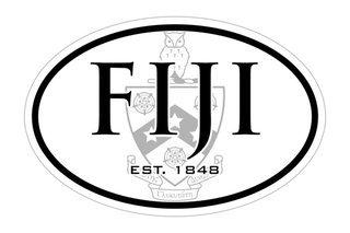 FIJI Fraternity Oval Crest - Shield Bumper Sticker - CLOSEOUT