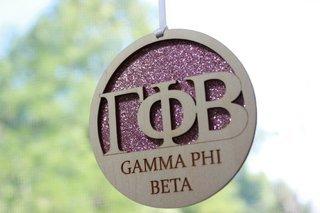 "Gamma Phi Beta Laser Carved Greek Letter Ornament - 3"" Round"