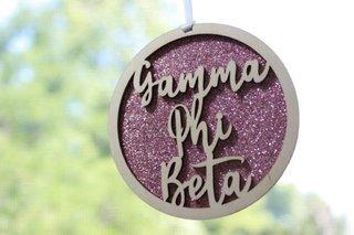 "Gamma Phi Beta Laser Carved Script Ornament - 3"" Round"