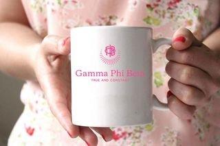 Gamma Phi Beta White Mascot Coffee Mug - Personalized!
