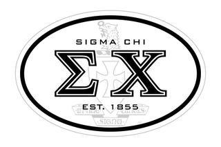 Sigma Chi Oval Crest - Shield Bumper Sticker - CLOSEOUT