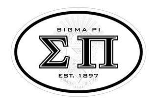 Sigma Pi Oval Crest - Shield Bumper Sticker - CLOSEOUT