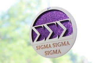 "Sigma Sigma Sigma Laser Carved Greek Letter Ornament - 3"" Round"