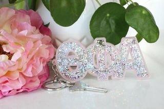 Theta Phi Alpha Glitter Keychain