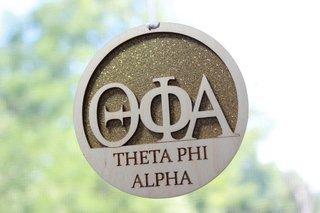 "Theta Phi Alpha Laser Carved Greek Letter Ornament - 3"" Round"