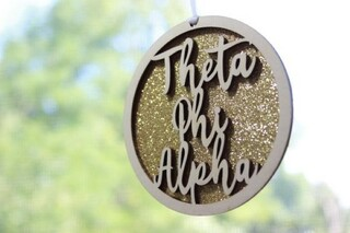 "Theta Phi Alpha Laser Carved Script Ornament - 3"" Round"