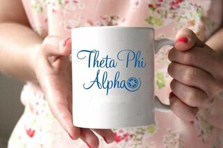 Theta Phi Alpha White Mascot Coffee Mug - Personalized!