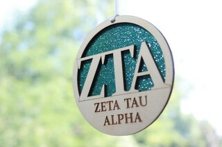 """Zeta Tau Alpha Laser Carved Greek Letter Ornament - 3"""" Round"""